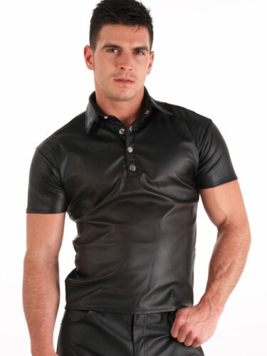 Men/'s Tight Polo Top Shirt in Black Lambskin Leather Look Short sleeves