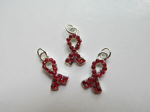 12 Enamel RED RIBBON CHARMS curvy heart disease awareness HIV AIDS MADD DARE
