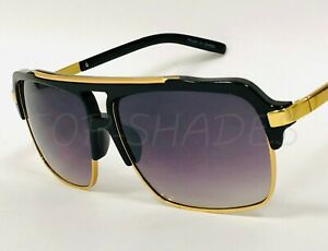 Aviator-Oversized-Mach-Square-Fashion-Designer-Sunglasses-Gold-Metal-Bar-Men-039-s
