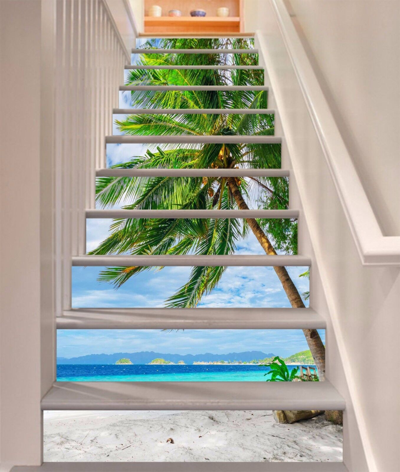 3D Beach Tree 801 Stair Risers Decoration Photo Mural Vinyl Decal Wallpaper UK