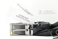 Mens VERSACE V910184 Black Leather Cut To Size Belt 120 cm 32 34 36 38 40 42 NWT