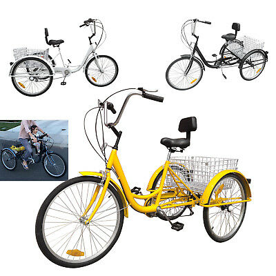 "3Color 26/"" 7-Speed 3-Wheel Tricycle Trike Bicycle Cruise Basket Aluminum Frame"