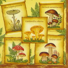 4x Single Table Party Paper Napkins for Decoupage Decopatch Vintage Mushrooms