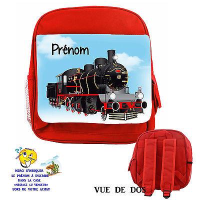 sac à dos luxe robuste enfant train personnalisé avec prenom réf 05