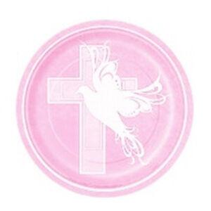 Image is loading Baptism-or-Communion-Pink-Dessert-Paper-Plates-Cross-  sc 1 st  eBay & Baptism or Communion Pink Dessert Paper Plates Cross Dove 7