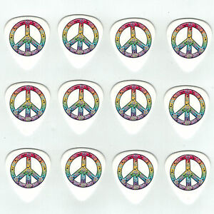 12-Pack-PEACE-RAINBOW-MUSIC-NOTES-Medium-Gauge-351-Guitar-Picks-Plectrum