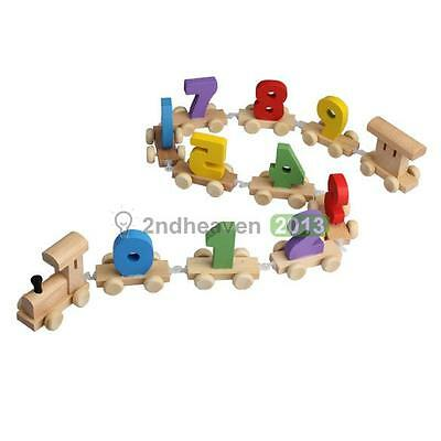 Educational Wooden Infant Train Toy Number Railway Kid Development Learning Gift