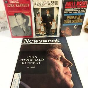 JFK-John-F-Kennedy-Vintage-4-Book-Lot-Young-Day-In-Life-James-Michener-Newsweek