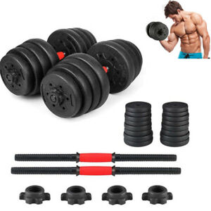 Weight-Dumbbell-Set-66-LB-Adjustable-Cap-Gym-Barbell-Plates-Hand-Body-Workout