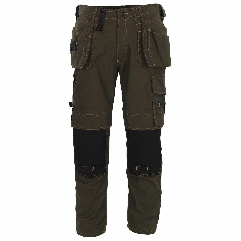 Mascot Almada Craftsmens Pantaloni Uomo Workwear OLIVE Girovita 30 , Extra Lungo Gamba