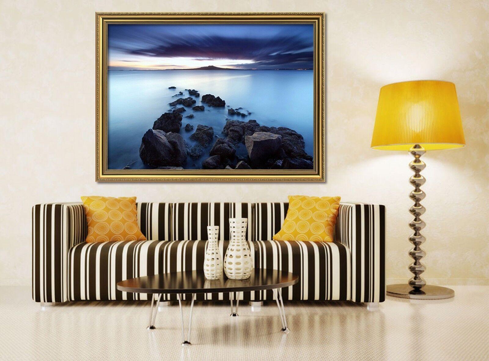 3D negro en la nube de playa 2 Enmarcado Cartel Decoración del Hogar Pintura de Impresión Arte AJ Wallpaper