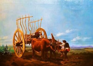 ANDALUSIAN-PEASANT-WITH-BEEF-CHARIOT-OIL-ON-CANVAS-SPAIN-XIX-CENTURY