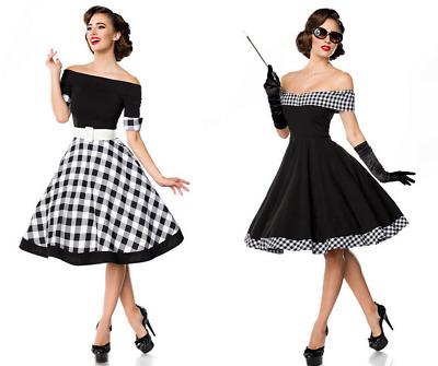detailed look b1995 3daca VESTITO SWING DONNA abito con gonna larga spale scoperte abbigliamento  anni50 DD | eBay