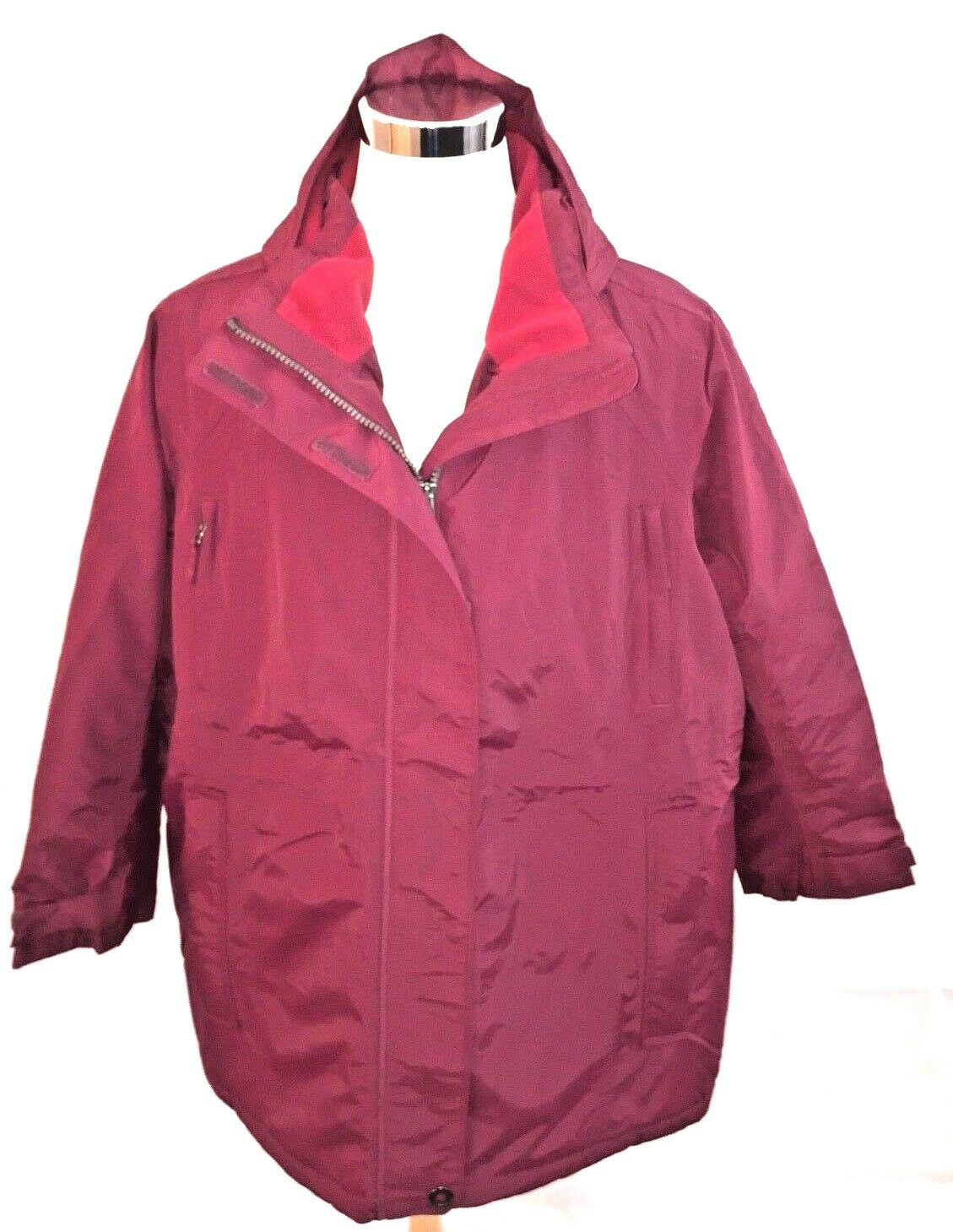 Lands' End Women's Red Plus Size Stadium Squall Long Coat Size 3X New with Tags