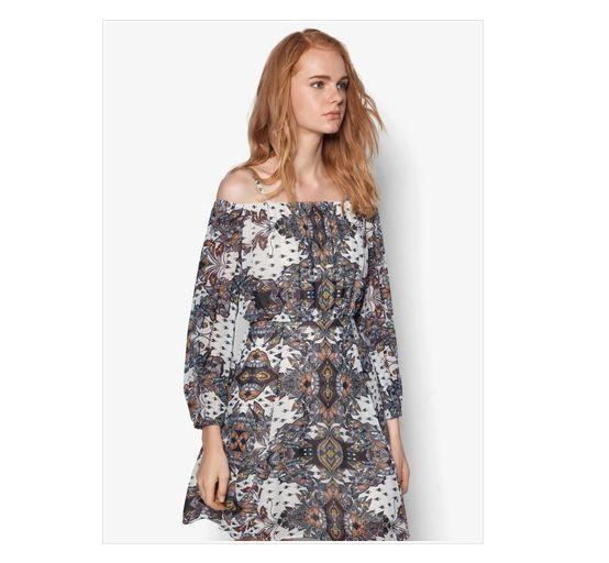 RIVER ISLAND DRESS SIZE 8 BNWT RRP £38 CREAM PAISLEY COLD SHOULDER DRESS