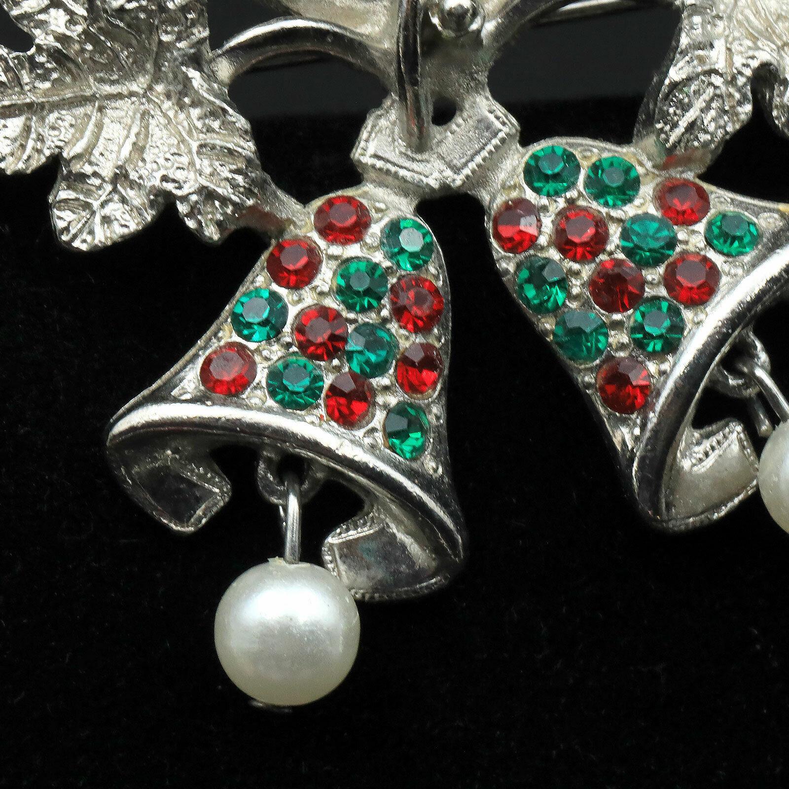 Vintage Silver Tone Rhinestone Christmas Bell Han… - image 4
