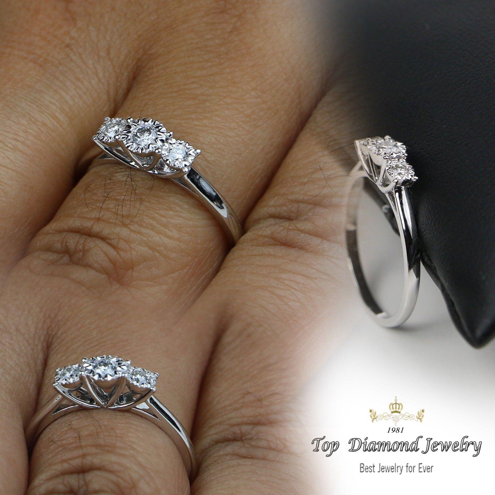 0.22 Ct Round Cut Diamond Engagement Ring 14K White gold