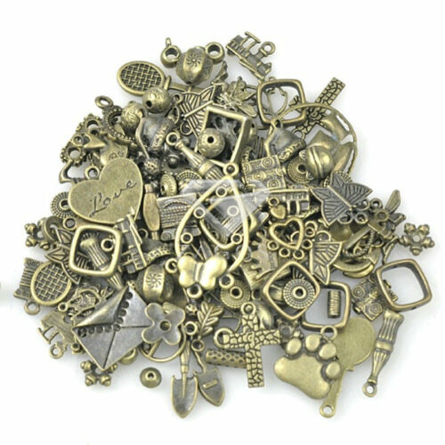 50g Random Mixed Antique Brass Connector Charms Beads Pendant Necklace Wholesale