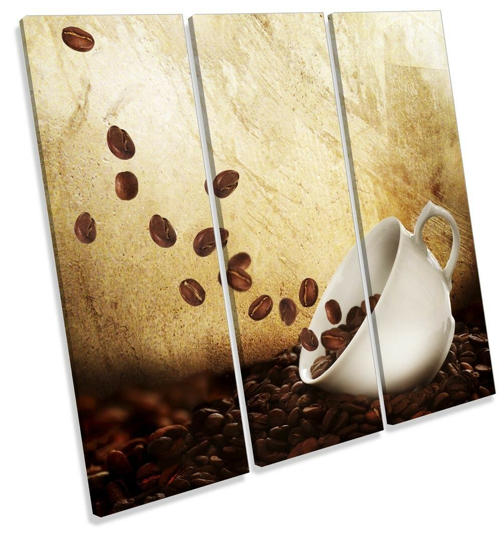 Coffee Beans Cup braun Picture TREBLE CANVAS WALL ART Print