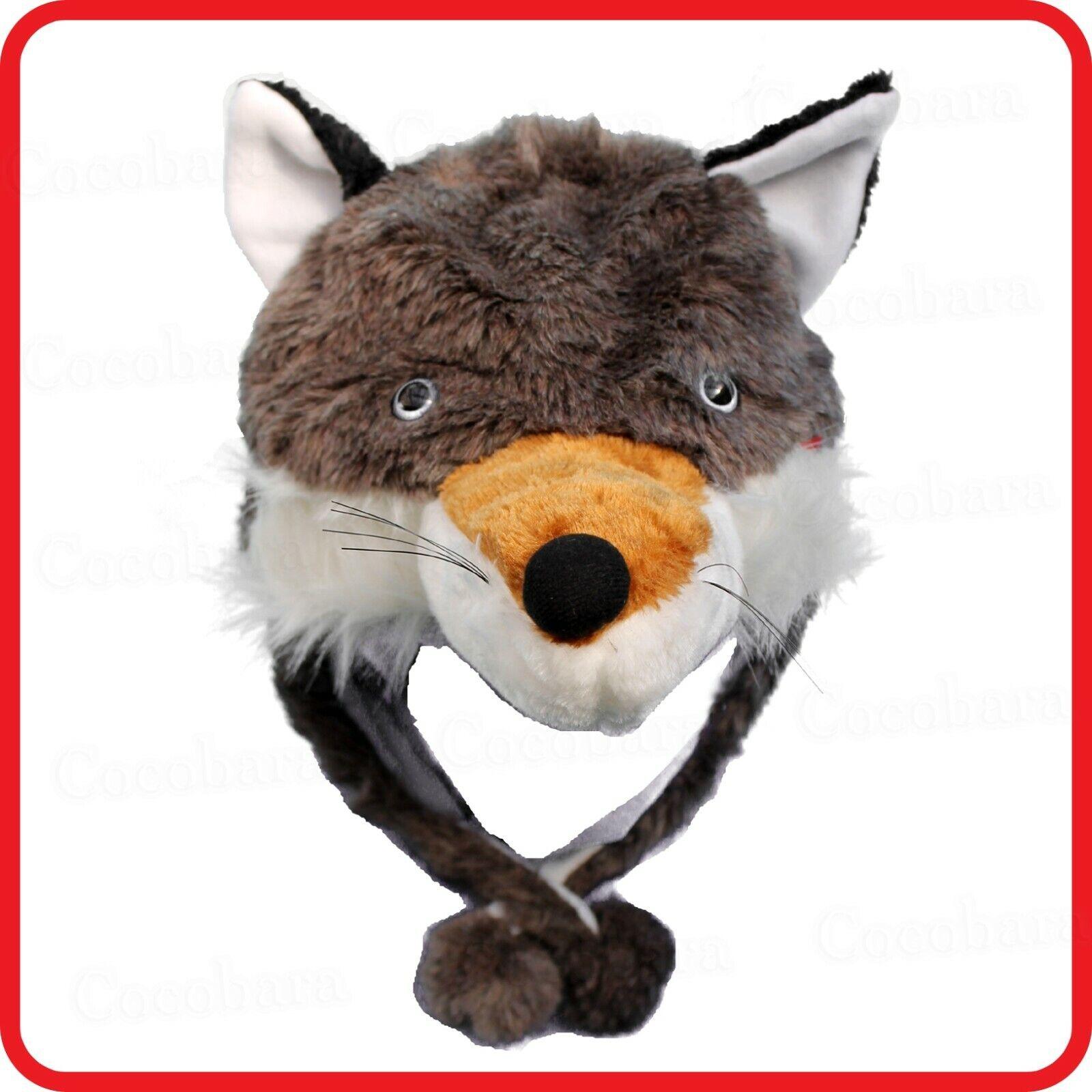 WOLF COYOTE FOX DOG ANIMAL CARTOON PLUSH FLUFFY HOODED HAT CAP BEANIE EARMUFF
