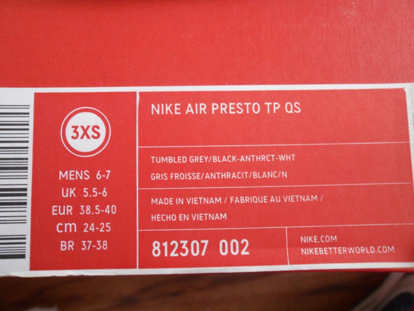 detailed look 534af a7013 Nike Air Presto TP QS Tech Fleece Grey Gray Size XS 8 8.5 9 Yeezy for sale  online   eBay