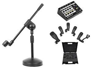 Samson-DK705-Drum-Microphone-Kit-Q71-Kick-Mic-4-Q72-Snare-Tom-Mics-Mixer-Stand