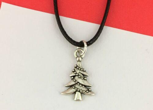 Árbol de Navidad Collar Gargantilla Plata Negro Niños Regalo Joyas de invierno de vacaciones