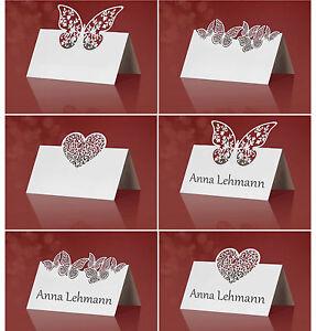 10 edle tischkarten platzkarten hochzeit weiss lasercut neu ebay. Black Bedroom Furniture Sets. Home Design Ideas