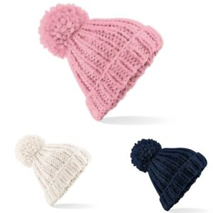 c36753f730c Details about Beechfield BC483 Pom Pom Oversized Winter Warm Chunky Hand  Knitted Beanie Hat