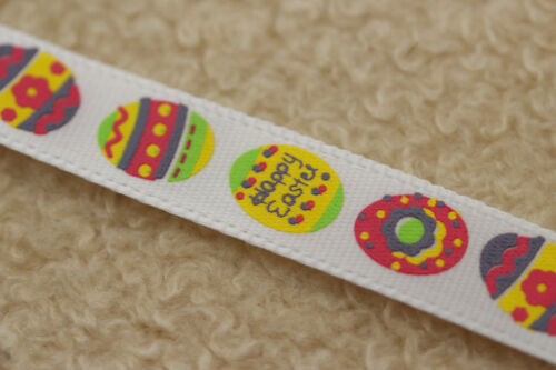 QUALITY WHITE SATIN 10mm EASTER EGG HAPPY EASTER RIBBON - BY CLUB GREEN