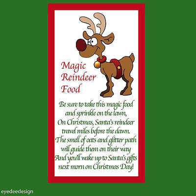48 X Natale Renna Poesia Magico Alimentari Adesivo Business Natale Etichetta Divertente 711- Garanzia Al 100%
