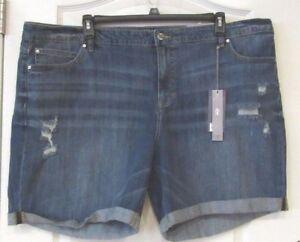 0078905268 Jennifer Lopez Distressed Jean Shorts IRENE Women's PLUS Sz. 24W NWT ...