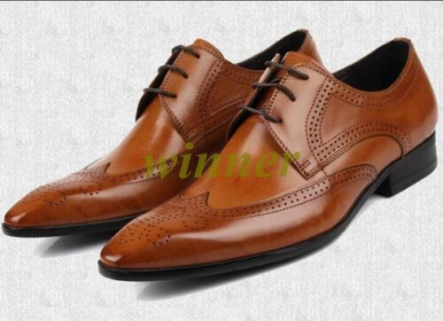 Hot New Mens Brogues Lace up Wing Tip Formal Carved Real Leather Dress Shoes