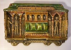 Analytique Barbotine Ancien Tramway Cablecar San Francisco Powell Mason Cendrier Vide Poche Valeur Formidable