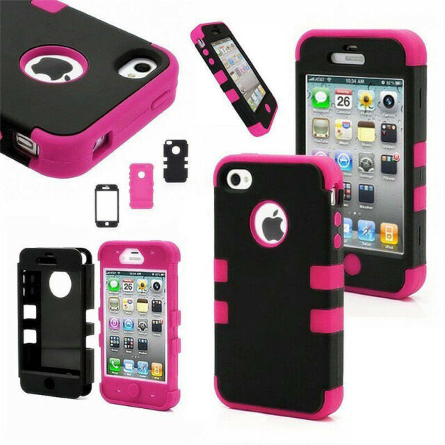 Shock proof Rubber Matte Hard Case Cover For Apple iPhone 4 4S+Screen Protector