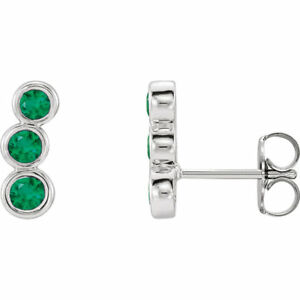 67b412aea Image is loading Chatham-Created-Emerald-Three-Stone-Ear-Climbers-In-