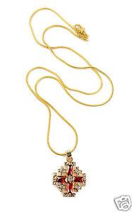 Gold Plated Silver Catholic Jerusalem Cross Pendant Pink Topaz Crystal Necklace