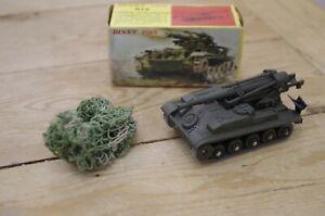 Vintage-Dinky-Cannon-De-Automoteur-813-French-Boxed-with-camo-net-Artillery-SPG