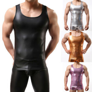 Men-Spandex-Stretch-Sleeveless-Vest-Suits-Tank-Tops-Metallic-Shiny-Tee-Muscle