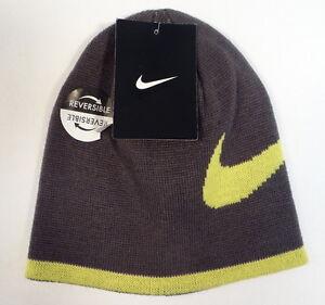 928dbe534 Nike Swoosh Reversible Gray   Yellow Knit Beanie Skull Cap Youth ...