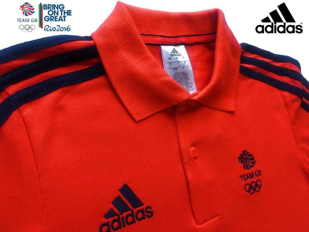 Adidas Team Gb Problème Sportif D'élite Rouge Polo En Coton Taille 34/36
