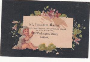 St Joachim Bazar Jewelry Fancy Goods Boston New England Nymph Vict Card c1880s