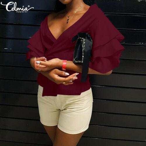 Women/'s Short Puff Sleeve Tops Ladies V Neck Ruffles Loose Casual T Shirt Blouse