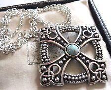 Firmato miracolo gioielli Nodo Celtico Croce Collana con pendente in vetro turchese