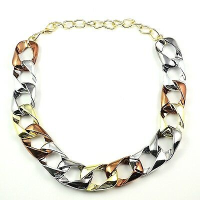 Vintage 3 Tones Interlocking Resin Chunky Choker Statement Chain Necklace