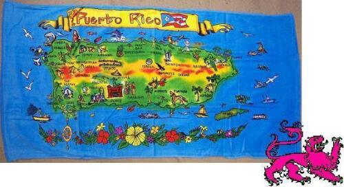 "Beach Blanket Towel Island of Puerto Rico 30/""x60/"" NEW 100/% Cotton"