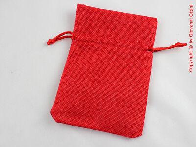 10 Pz Sacchetto Sacchettino Portaconfetti In Stoffa Juta Rosso 10x13 Bianchezza Pura