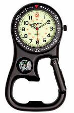 Carabiner Clip-on Belt Fob Watch. Bezel, Compass, Bottle Opener Hikers Sports