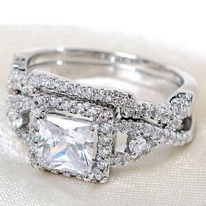 2pcs Fashion Silver Plated Cubic Zircon Rings Set Crystal Wedding