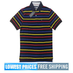 Tommy-Hilfiger-NWT-Men-039-s-Classic-Fit-Stripe-Black-Gold-Red-Basic-SP-Polo-Shirt
